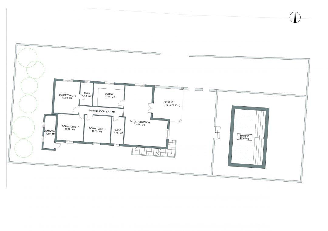 Reforma de vivienda antigua, Arboleas